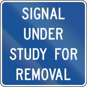 Road sign used in the US state of Delaware - Signal under study for removal Stock Illustration