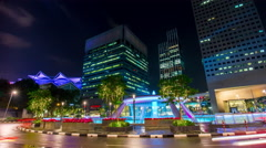 night  traffic fountain circle suntec city 4k time lapse singapore - stock footage