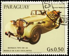 Old car Maybach SW-38 on postage stamp Stock Photos