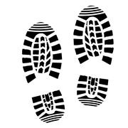 Shoe Print Silhouette - stock illustration
