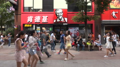 China lifestyle, Western KFC restaurant, fast food, popular shopping street Stock Footage