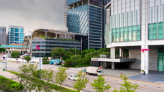 South beach suntec mall traffic street roof top view 4k time lapse singapore Stock Footage
