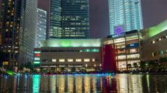 kuala lumpur KLCC mall night  music fountain show 4k time lapse malaisia - stock footage