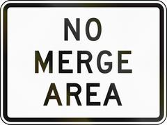 Road sign used in the US state of Delaware - No merge area - stock illustration