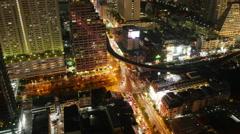 Night  silom traffic crossroad roof top panorama 4k time lapse bangkok thailand Stock Footage