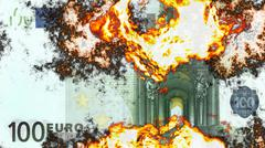 Burning 100 euro - stock illustration