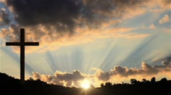 Big Cross at sunset  Stock Footage