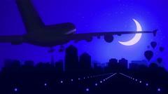 Albuquerque New Mexico USA America Skyline Sunrise Landing Moon Blue Stock Footage