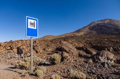 Landmark road sign near Pico Viejo volcano - stock photo