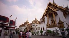 famous bangkok wat phra kaew temple tourist main place 4k time lapse thailand - stock footage