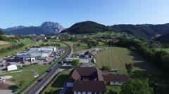 Flight to Gmunden, Traunstein am Traunsee in background, aerial view. Stock Footage