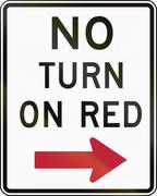 Road sign used in the US state of Delaware - no turn on red - stock illustration