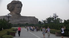 Mao Zedong statue in Changsha, Red Tourism, Communist Party China Stock Footage