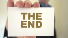The end title held by businessman Stock Footage