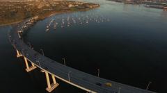 4k San Diego Coronado Bridge Sun Rise 006 High Hover Stock Footage
