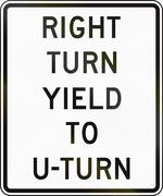 Road sign used in the US state of Delaware - right turn yield to u-turn Stock Illustration