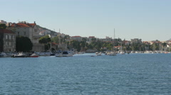 Beautiful view of moored boats in the port in Dubrovnik Stock Footage