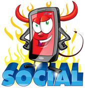 evil fun mobile cartoon on flame - stock illustration