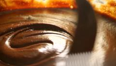 Cooking brownie: adding flour to chocolate dough. Close up shot Stock Footage