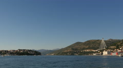 Beautiful view of the sea and Franjo Bridge in Dubrovnik Stock Footage