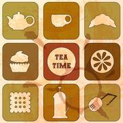 Icons Tea Time. Set of 9 icons. Grunge background - stock illustration