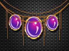 Stock Illustration of Purple jewelry on gray background