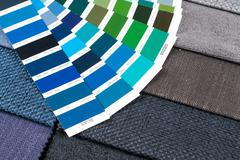 fabric samples with pantone 2 - stock photo