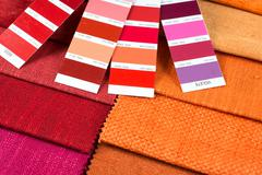 fabric samples with pantone 3 - stock photo