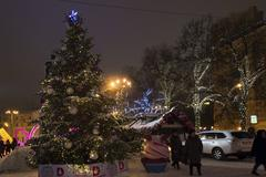 Moscow, Russia - January 17, 2015. Christmas tree on Tverskoy Boulevard - stock photo