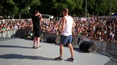 Beatboxers perform. Stock Footage