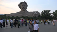 Domestic Chinese tourists visit Mao Zedong statue in Changsha city Stock Footage