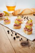 Fresh homemade fingerfood with pate and pickles Stock Photos