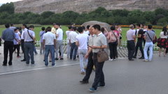 Chinese tourists on a visit to 'Orange Isle' in Changsha Stock Footage