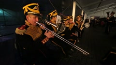 "Military orchestra wait for performance during ""Spasskaya Tower"" . Stock Footage"