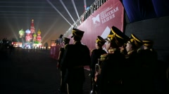 """Military orchestra wait for performance during """"Spasskaya Tower"""" Stock Footage"""