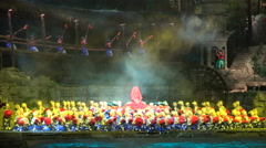 Dance performance, umbrellas and traditional outfits, stage theater in China Stock Footage