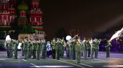 """Belarus performs during the """"Spasskaya Tower"""" Military Music Festival. - stock footage"""