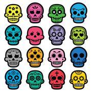 Halloween, Mexican sugar skull, Dia de los Muertos - cartoon icons Stock Illustration