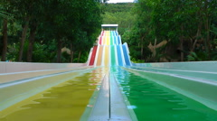 Colorful water slides Stock Footage