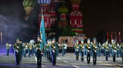 """Kazakhstan performs during the """"Spasskaya Tower"""" Military Music Festival. - stock footage"""