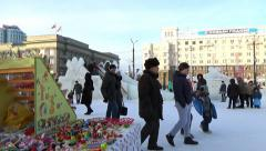 PEOPLE IN ICE TOWN. CHELYABINSK, RUSSIA. 2 Stock Footage