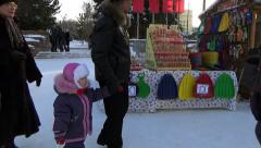PEOPLE IN ICE TOWN. CHELYABINSK, RUSSIA. 1 Stock Footage