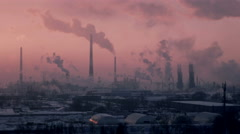 C0183_Oil Refinery Air Polution 4K - stock footage