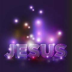Abstract Glowing Jesus Text Illustration - stock illustration