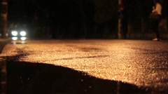 Auto and pedestrian traffic in one evening in May after a brief rain Stock Footage