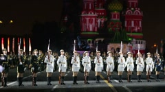 """China performs during the """"Spasskaya Tower"""" Military Music Festival. - stock footage"""