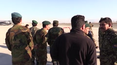 AFGHANISTAN, JANUARY 2016, Member Afghan Air Force Stand Kabul Airbase - stock footage