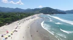 Aerial View of Camburi and Camburizinho Beach, Sao Paulo, Brazil Stock Footage