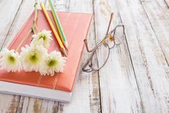 White flower and pencil on notebook on wooden table Stock Photos