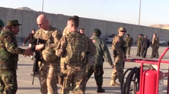 AFGHANISTAN, JANUARY 2016, Member US Afghan Air Force Talk Each Other Kabul Stock Footage
